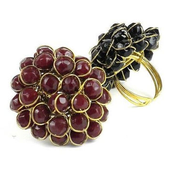 Burgundy Chrysanthemum Ring - WorldFinds