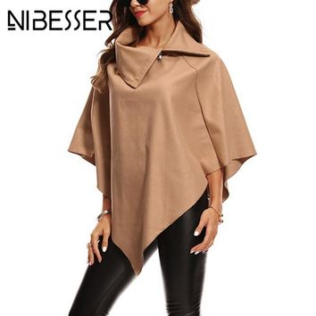 NIBESSER Fashion Autumn Winter Cloak Trench Coat For Women 2017 Irregular Streetwear Overcoats Female Windbreakers Z30