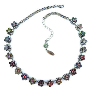 LEILANI Swarovski crystal multi-flower necklace, colorful flowers, sparkly OOAK statement Siggy necklace