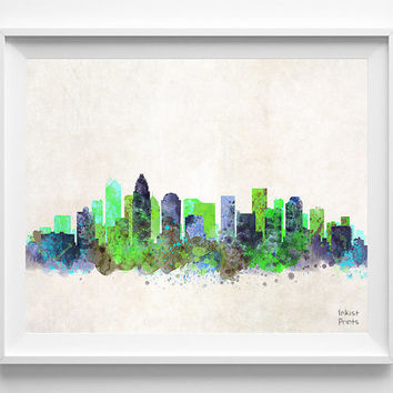 Charlotte Skyline Watercolor Poster, North Carolina Print, Cityscape, City Painting, State, Illustration Art Paint, Wall, Decor [NO 199]