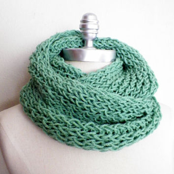 Infinity Scarf, Sage Green Knit Scarf, Loop Scarf, Mobius Scarf, Fashion Knitwear, Fall Essentials