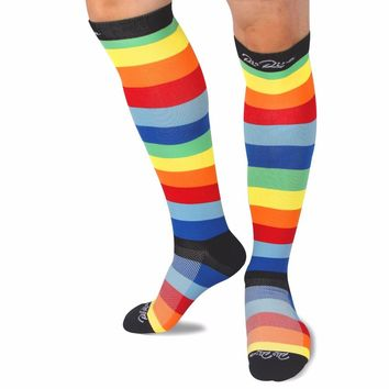 US Fulfilled by Amazon RioRiva Compression Socks with Rainbow Colorful Stripe for Women & Men Stocking 20-30 mmHg (1 Pair)
