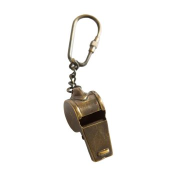 Captain's Whistle Keychain in Antique Brass