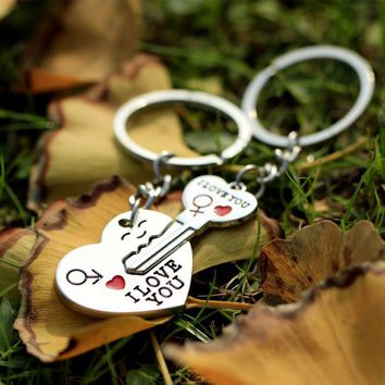 Women Couple I LOVE YOU Letter Heart And Key Ring Set