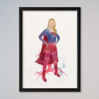 Supergirl Watercolor Print Wall Decor Fine Art Giclee Print Poster Home Decor Wall Hanging DC Comics Super Girl