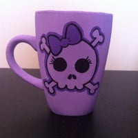 Purple skull with bow mug, coffee cup, hand painted