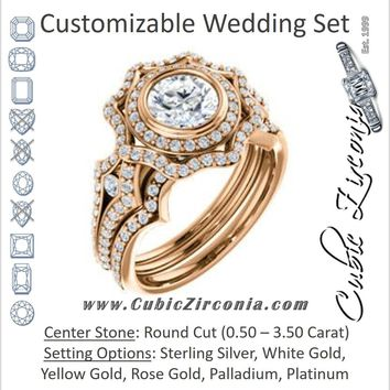 CZ Wedding Set, featuring The Arya engagement ring (Customizable Round Cut with Ultrawide Pavé Split-Band and Nature-Inspired Double Halo)