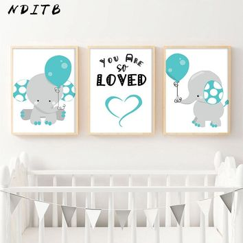 NDITB Elephant Canvas Painting Wall Art Nursery Poster and Print Cartoon Decorative Picture Nordic Boys Girls Bedroom Decoration
