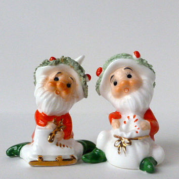 Vintage Napco Christmas Elves, Bone China Figurines, Spaghetti Trim