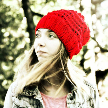 Slouchy Beanie Hat - Red - Hand Knitted Vegan Hat - Woman's Hat - Teen Girl Hat
