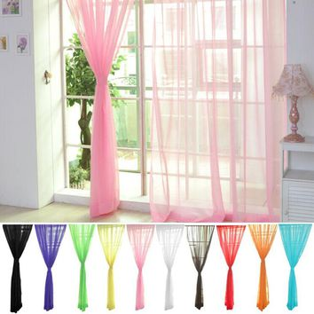 2017 Blinds Tulle Window Curtain Home Decor Tulle Voile Window Drape Panel Sheer Scarf Valances Curtain for Kitchen Living Room