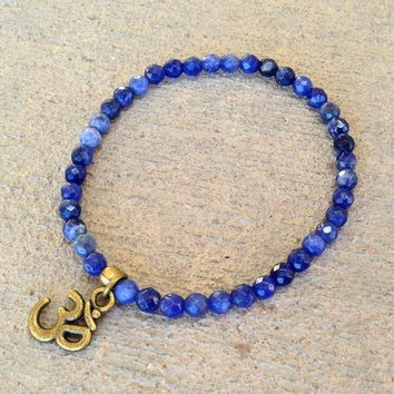 Peace, Fine Faceted Sodalite Bracelet with Om Charm