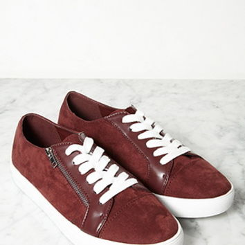 Faux Suede Zippered Sneakers
