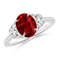 Claw Set Ruby and Half Moon Diamond Three Stone Ring