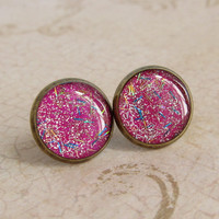 Glitter Earrings - Neon Pink Stud E.. on Luulla