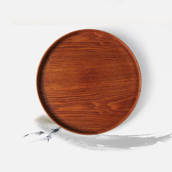 Eco-friendly Primitive Hand-Made Natural Wood Serving Tray Tea Food Oriental Plate Dish Platter Snack Plates