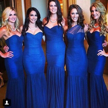 Hot Sale Royal Blue Mermaid Bridesmaid Dresses Sweetheart Wedding Party Gowns Backless Long Prom Dress 2016