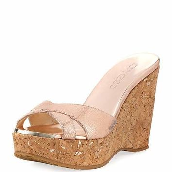 Jimmy Choo Perfume Metallic Leather Wedge Platform Sandal