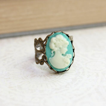 Silhouette Cameo Ring Aqua Ivory Cream Cameo Lady Face Profile Cocktail Ring Vintage Style Jewelry Adjustable Filigree Romantic Gold Brass