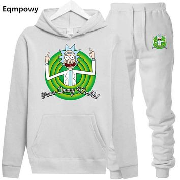 Animation Hoodie Rick And Morty Sweatshirts Men 2018 New Hot Selling Pure suit Freestyle Mens Rick Morty Casual Tracksuit