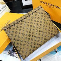 LV Fashion New Monogram Print Leather Cosmetic Bag File Package Handbag