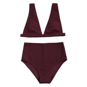 ZAFUL 2018 New Women High Waisted Textured Plunge Bikini Set Deep V Sexy Backless Solid Padded Bikini Female Swimsuit Swimwear
