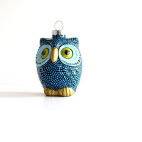 Owl Ornament: Blue dotted Owl Ornament Hand Painted Glass Ornament Christmas Owl