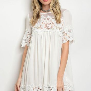 Women's Boho Shift White Dress Crochet Mesh Relaxed Fit Summer Casual Tunic