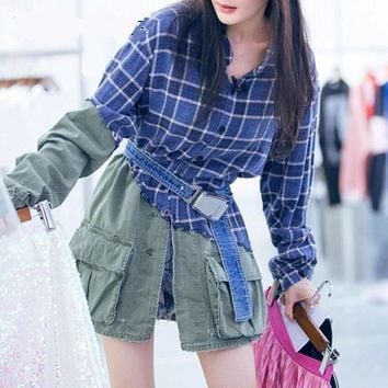 Trendy Patchwork Plaid Denim Jacket Women Long Sleeve Loose Jackets Autumn Clothing AT_94_13