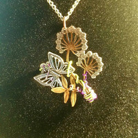Butterfly and dandelion necklace, butterfly necklace, butterfly jewelry, dandelion necklace, dandelion jewelry, wire wrapped jewelry