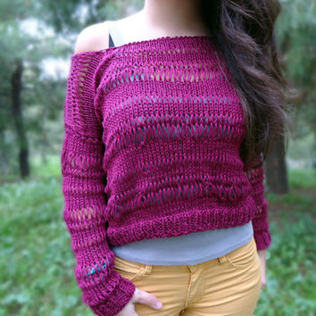 Women's knit cotton top, lace knit sweater, hand knitted jumper, cotton knit short sweater, women's knitwear, knit blouse, burgundy knit top