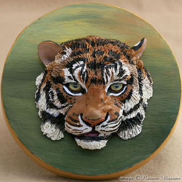 Tiger Art Original Polymer Clay Sculpture Bas Relief Big Cat Sculpture on Wood Keepsake Box