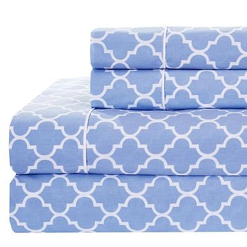 Full Periwinkle/White Printed Meridian Percale Sheets