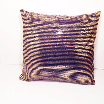 Black and Gold Sequin Decorative Throw Pillow 14x14 Size Includes Pillow