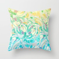 Summer Beach Days Abstract - Yellows And Blues Throw Pillow by gx9designs