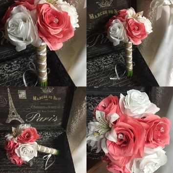 Ready To Ship Real Touch Coral White Rustic Beach Wedding Bouquet wrapped in Natural Burlap
