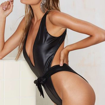Nasty Gal Quinn Plunging Swimsuit