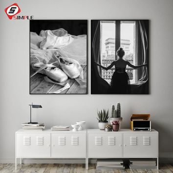Black White Window Girl Posters Print Foot Dance Ballet Canvas Painting Wall Art Pictures For living Room Home Decor No Frame