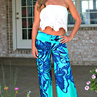 Walk On The Wild Side Palazzo Pants: Mint