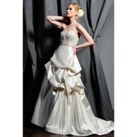 A-line strapless chapel train wedding dress