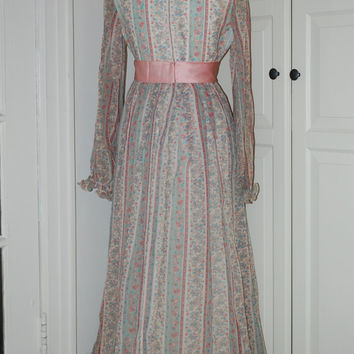 60s Dress, Wedding, Bridesmaid, Mod, Gown, Maxi, Voile, Pastel, Wallpaper Print, Size M