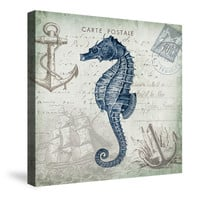 Seaside Postcard Seahorse Canvas Wall Art