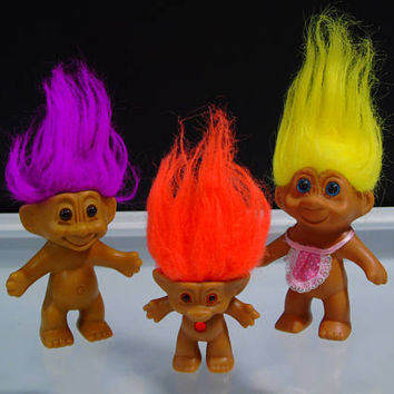 3 Troll Dolls TNT Russ Ace Novelty Co Bejeweled Belly Button