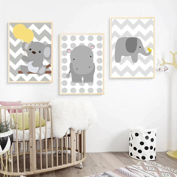 Cartoon Bear Elephant Hippo Wall Art Canvas Painting Nordic Posters And Prints Animal Pop Art Wall Pictures Baby Kids Room Decor
