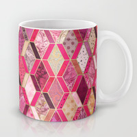 Wild Pink & Pretty Diamond Patchwork Pattern Mug by Micklyn