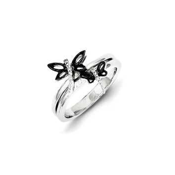 Sterling Silver Diamond Black Rhodium-plated Dragonfly Ring