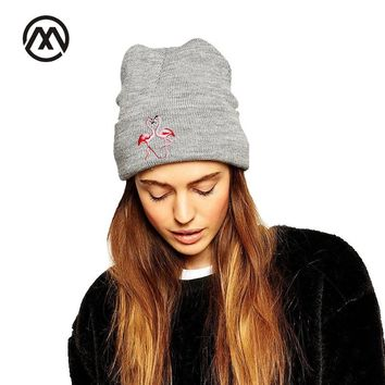 2017 Fashion Animal Pattern Knitted Hat For Women Men Autunm Winter Knit Skullies Beanies With Flamingo Elastic Female  Hat