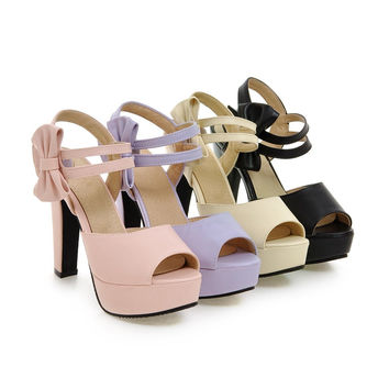 Women Sandals Bowtie Pumps Platform with Straps High-heeled Shoes