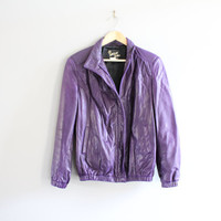 Premium Genuine Leather Bomber Purple Leather Jacket Minimalist Motor Jacket Hipster Vintage 80s  Size S - M #O133A