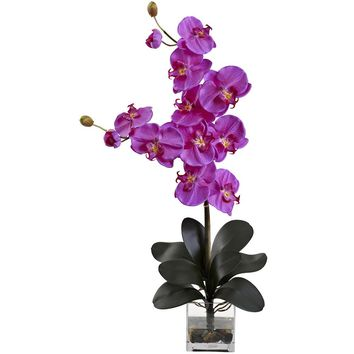 Silk Flowers -Double Giant Phalaenopsis With Vase Artificial Plant